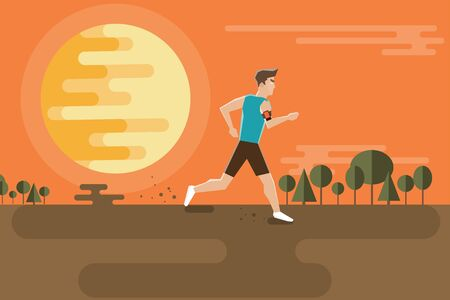 Running man on a background of a sunset in a flat style