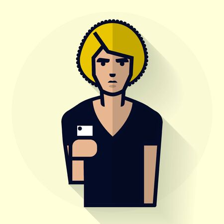 Hipster man with smart-phone. Illustration in flat style.