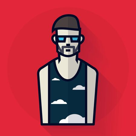 Hipster man in glasses. illustration in flat style Illustration