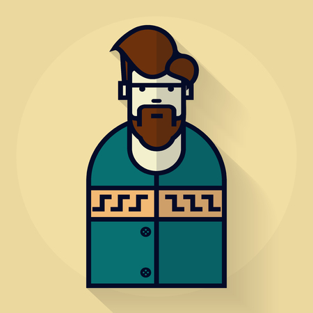 Bearded hipster man in pullover. illustration in flat style