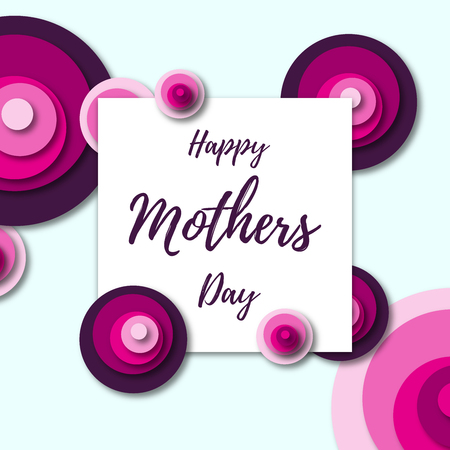 Happy Mothers Day greeting card with pink flowers Illustration