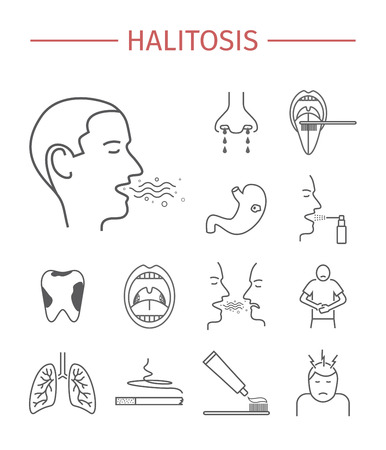 tonsillitis: Halitosis. Symptoms, Treatment. Line icons set. Vector signs for web graphics.