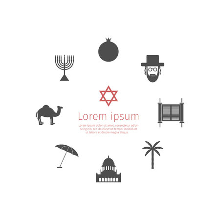 characteristic: Israel icons. Vector signs for web graphics. Illustration