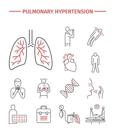 Pulmonary Hypertension line icons.