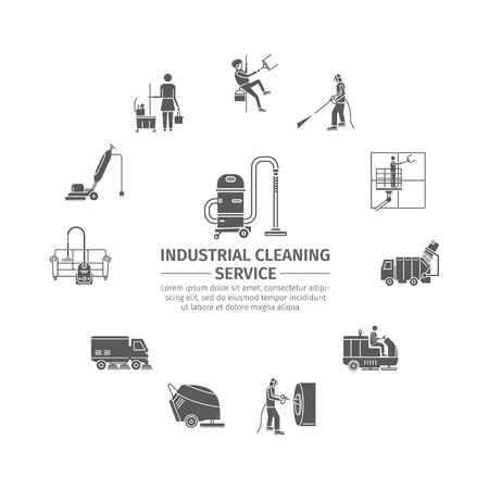 Industrial Cleaning Service. Worker. Vacuum Scrubber. Sweeper Machines. Pictograms set Vector illustration Ilustracja