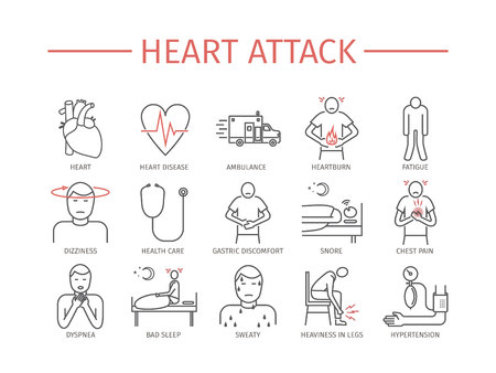 Heart Attack. Symptoms, Treatment. Line icons set. Vector signs for web graphics