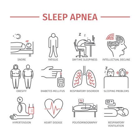 sleepiness: Sleep Apnea. Line icons set.