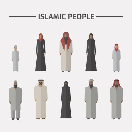 Islamic people. Flat icon set Illustration