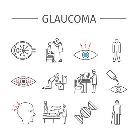 nerve damage: Glaucoma. Line icons set.