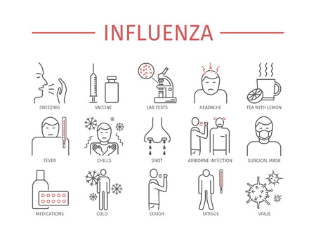 Influenza. Flu line icons set. Иллюстрация
