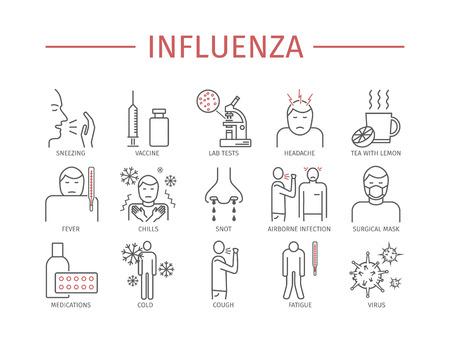 influenza: Influenza. Flu line icons set. Illustration