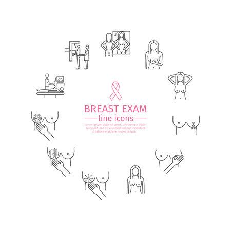 samodzielny egzamin, zestaw ikon linii badania raka piersi.
