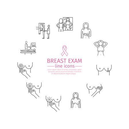 self exam, cancer examination line icons set.