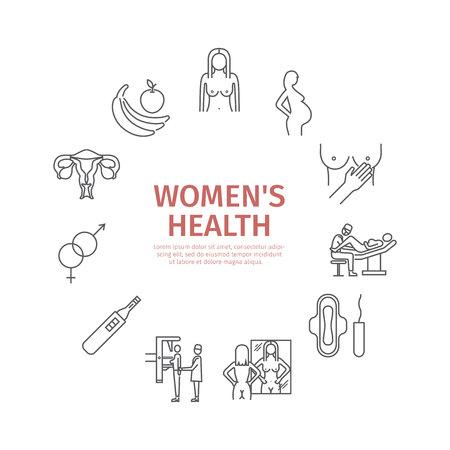 Women Health. Line icons set. Illustration