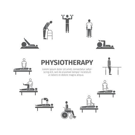 Fysiotherapie, rehabilitatiecentrum. Stock Illustratie