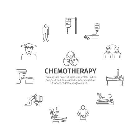 Los Efectos Secundarios De La Quimioterapia. Iconos Del Vector Para ...