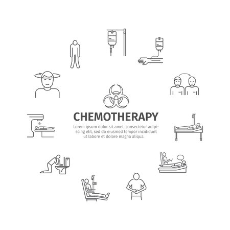 Chemotherapy line icons set.
