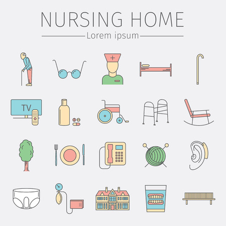 Krankenpflege Home line icon. Symbole der älteren Menschen Vektor-Illustration. Standard-Bild - 77610975