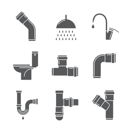 sewage system: Plumbing, water pipes, line icon set. Vector Illustration