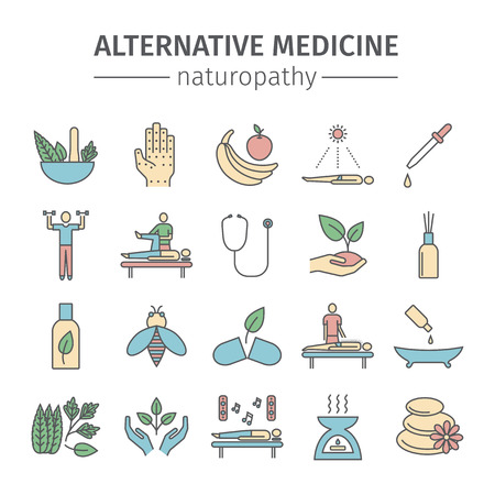 Alternative Medicine line icons set. Naturopathy sign. Vector Ilustracja