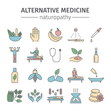 Set di icone linee di medicina alternativa. Segno di naturopatia. Vettore Archivio Fotografico - 77611799