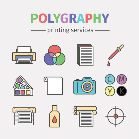 polygraphy: Printing polygraphy line icons set. Vector infographic.