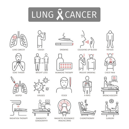Lung Cancer. . Symptoms, Causes, Treatment. Line icons set. Vector signs