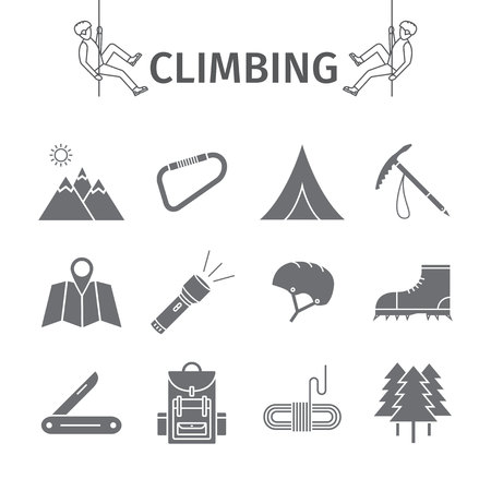 rockclimbing: Rock-climbing equipment icons. Illustration