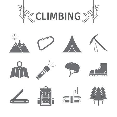 Rock-climbing equipment icons. Illustration