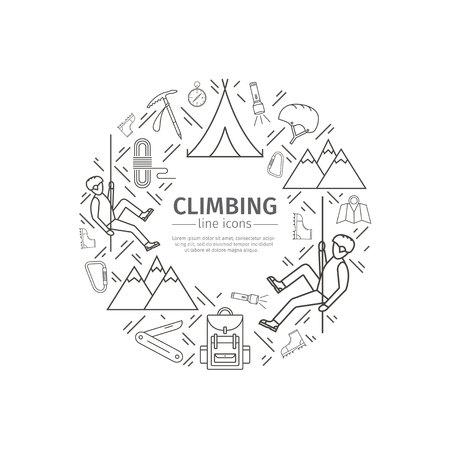 Rock-climbing web banner, sports equipment. Advertising template.