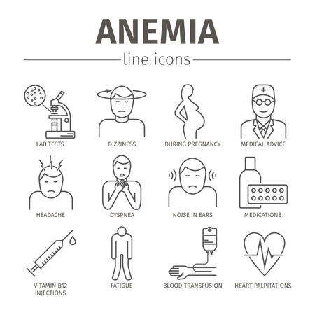 deficiency: Symptoms of anemia. Iron deficiency. Illustration