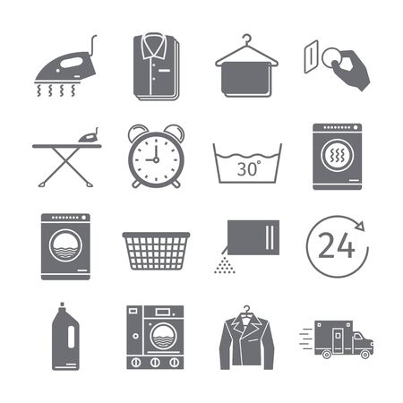 launderette: Launderette signs. Dry cleaning services. Vector icons. Stock Photo