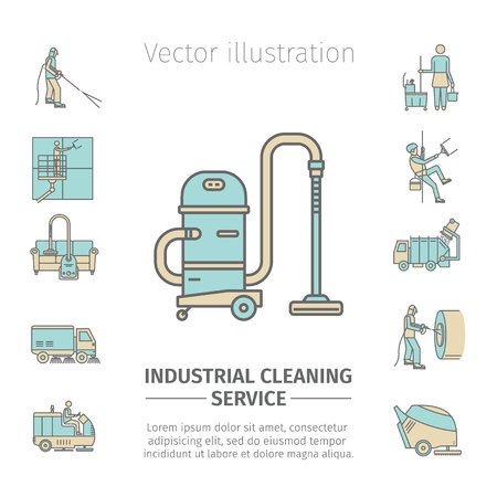 Industrial Cleaning Service. Vectores