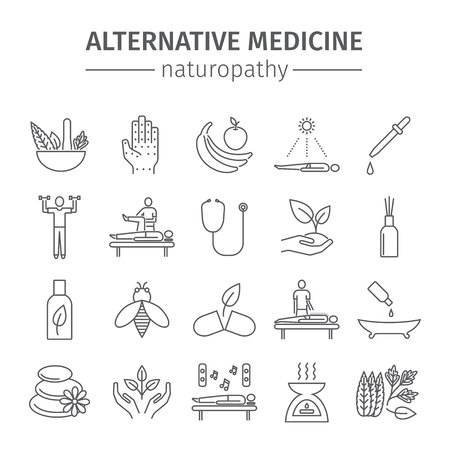 herbalist: Alternative Medicine line icons set. Naturopathy vector sign.