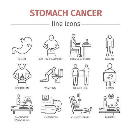 Stomach cancer line icons. Symptoms and diagnosis.