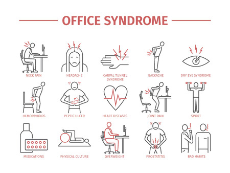Office syndroom infographic Stockfoto