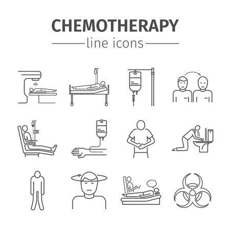 Chemotherapy line icons set Vector Illustration
