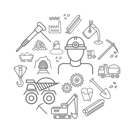 Industry line icons set. Metallurgy and Coal mining sign in a circle