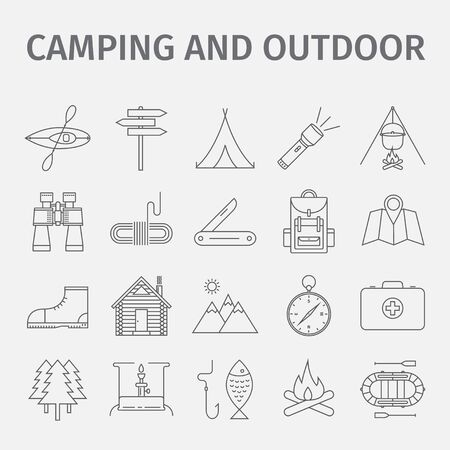Outdoor recreation. Outdoor activity. Adventure recreation. Tourism. Thin line icon set. Vector illustration.