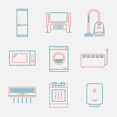 major: Major appliances icons. Thin line style. Modern flat design Illustration