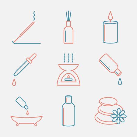 Aromatherapy oils icons set. Essential Oil thin line style. Modern flat design.