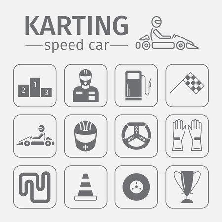 shifter: Kart racing, karting, motorsport, driver equipment. Thin line icon set.