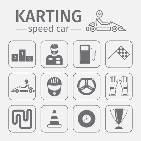 Kart racing, karting, motorsport, driver equipment. Thin line icon set.