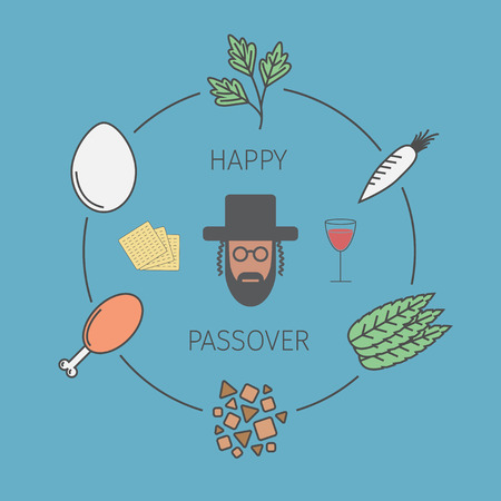 seder: Passover seder plate with line icons. Vector Illustration