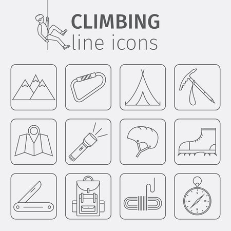 bolt: Rock-climbing equipment, climbing, rock climbing, mountaineering, equipment. Thin line icon set. Vector illustration.