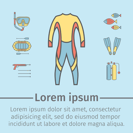 free diver: Spear fishing line icon set isolated on blue background. Diving icons. Vector. Illustration