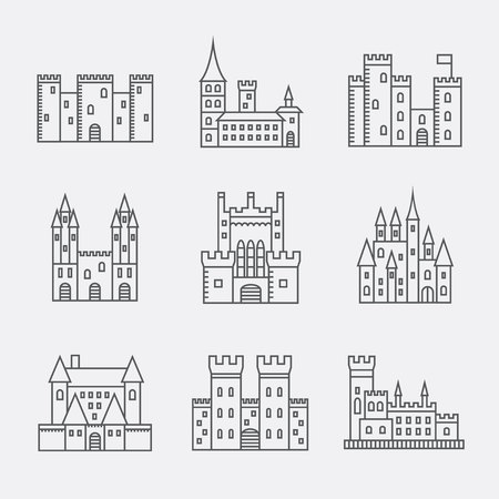 Castle line icons set. Vector illustration. Illustration
