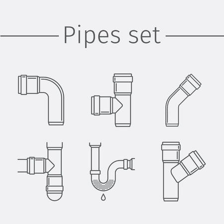 canalization: Pipes, valves, plumbing, repair. Thin line icon set. Illustration