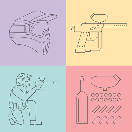 pastime: Paintball line icons set. Vector. Illustration