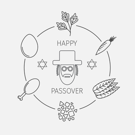 seder: Passover seder plate with line icons. Vector.